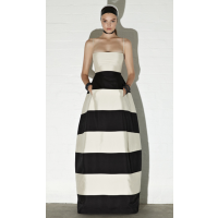 Onyx & Pearl Luxe Stripe Strapless Gown, Carla Zampatti, $1,049. http://www.carlazampatti.com.au/Collections/Spring%7CSummer_2013.htm