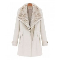 Cream White Fur Lapel Collar Zip Up Biker Jacket, $98 http://www.goodnightmacaroon.co/collections/coats-jackets/products/cream-white-fur-lapel-collar-zip-up-biker-wool-coat