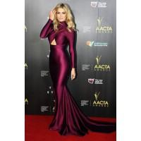 Long Sleeve: Delta Goodrem in Michael Costello at the AACTA Awards http://bit.ly/1kBPx9w