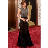High Neckline Dress: Emma Watson in Vera Wang at the Oscars http://bit.ly/1pEtjGE