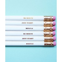 Charm And Gumption Set of 6 Inspirational Pencils via Etsy; $14 https://www.etsy.com/au/listing/151999840/inspirational-pencils-set-of-6-be-brave?ref=shop_home_feat_3