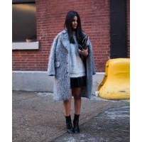 A textured grey coat beats boring black.