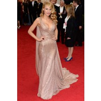 Deep V Neck Dress: Blake Lively in Gucci at the Met Ball http://bit.ly/1m9wQ9E