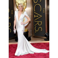 Deep V Neck Dress: Kate Hudson in Versace at the Oscars http://vogue.cm/Ssb5di
