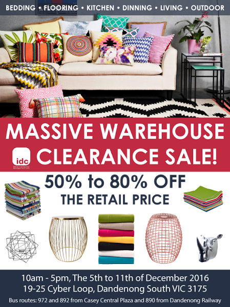 Idc homewares warehouse clearance of all things home decor for Home decorators warehouse sale